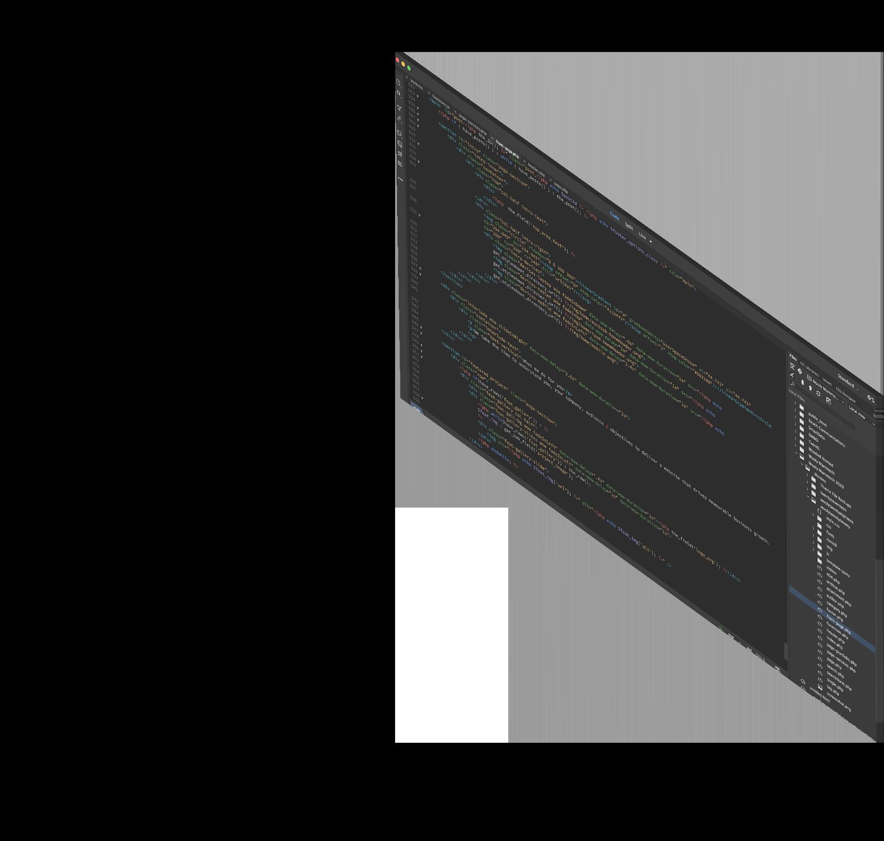 Screen with website code