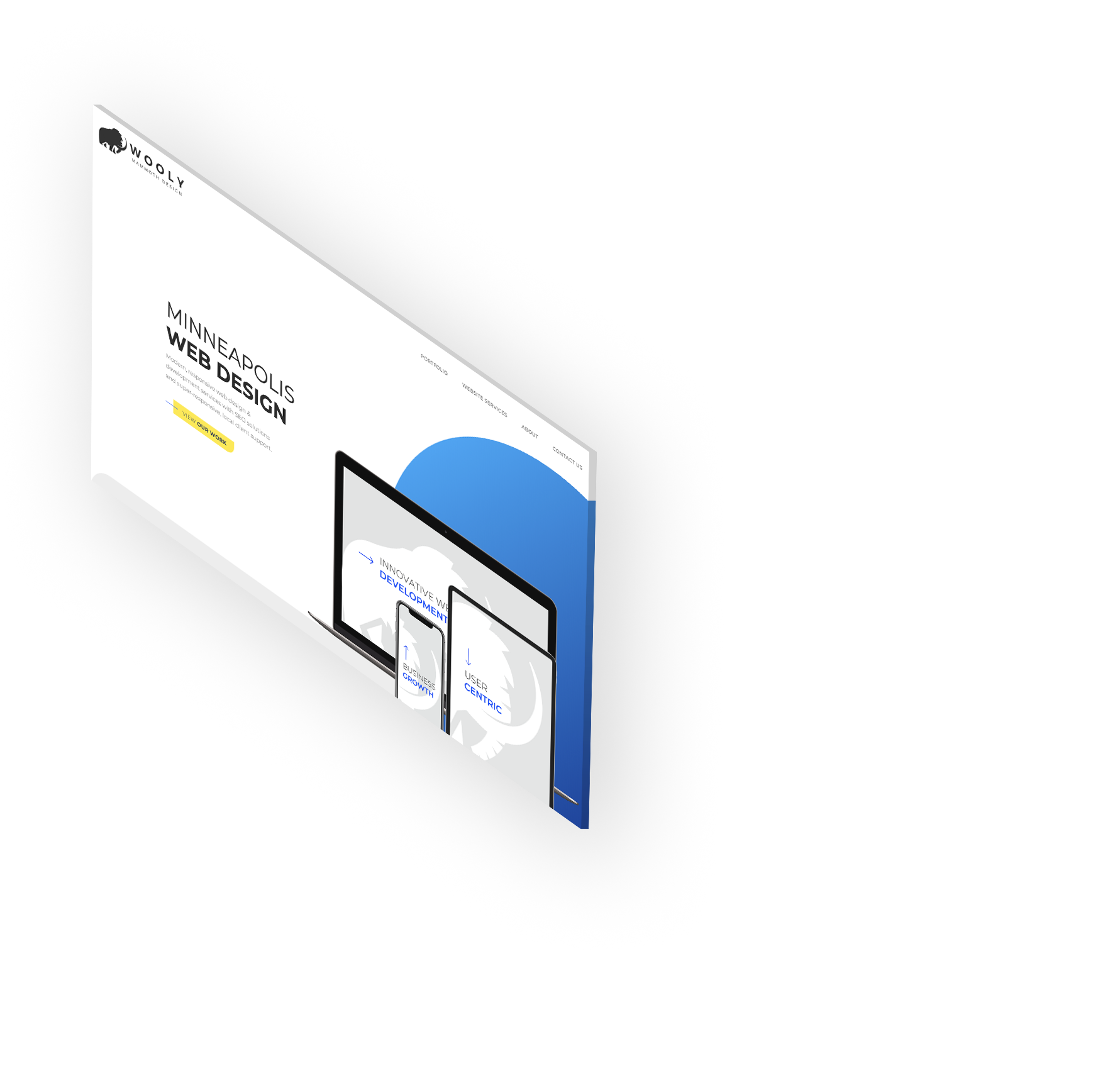 Laptop screen with web design mockup