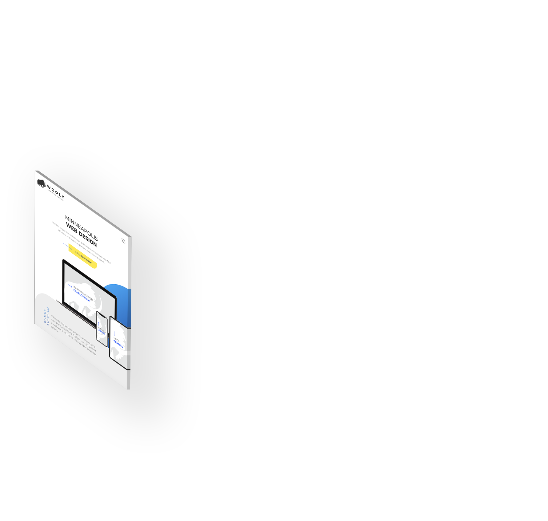 Tablet screen with website design mockup