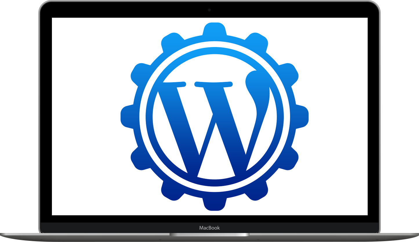 Laptop with WordPress logo on screen