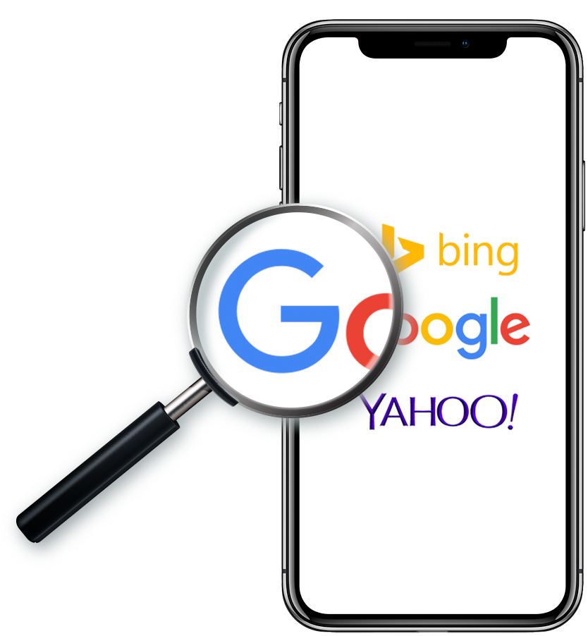Handheld phone with Google Search screen