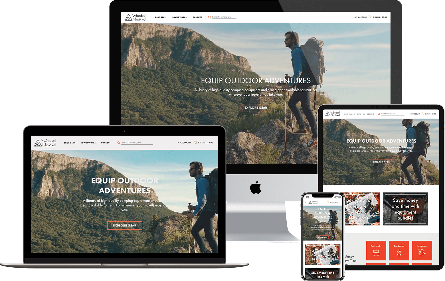 Screenshots of Minneapolis web design and development project - Wooded Nomad website