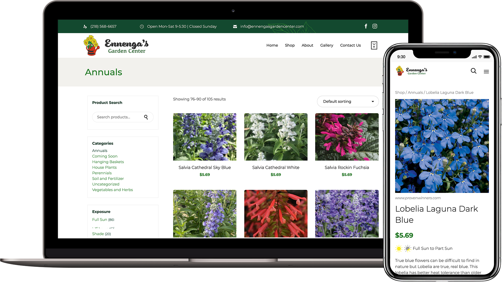 Ennenga'a Garden Center Website Mockup of Product and Shop Pages on Laptop and Phone