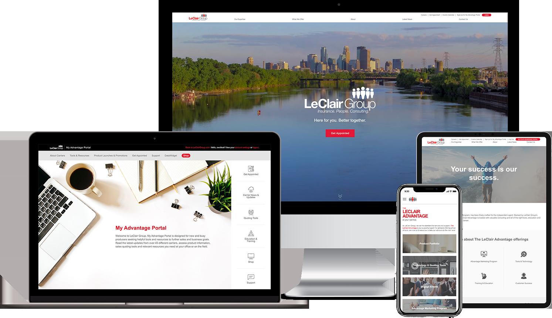 LeClair Group Custom WordPress Theme Website Mockup