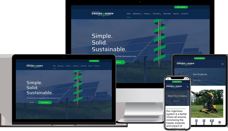American Ground Screw Custom WordPress Responsive Website Design Mockups