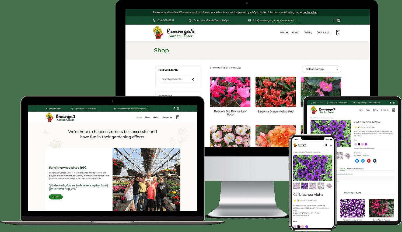 Garden Center Custom WordPress E-commerce Website Design Mockups