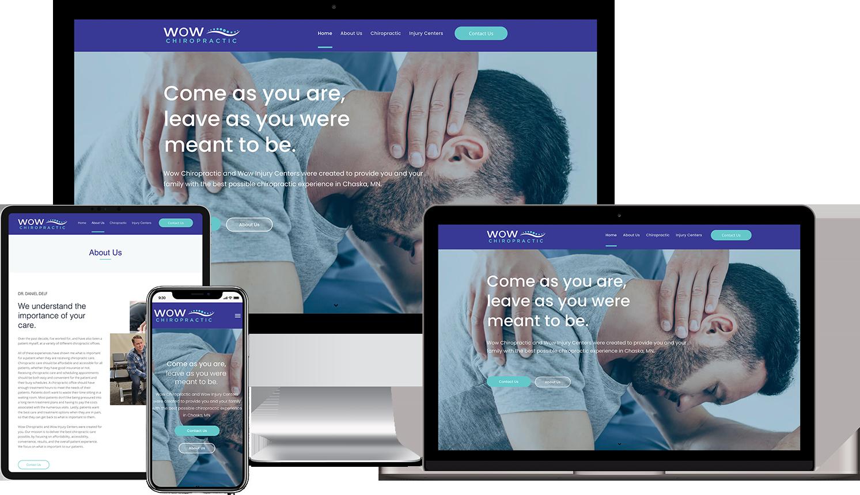 WOW Chiropractic CustomWebsite Design Mockups