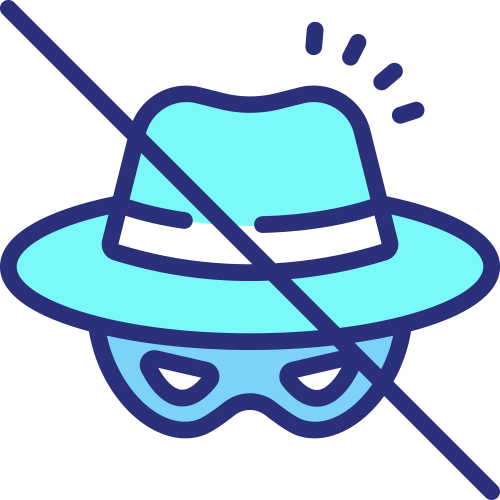 Icon slash across masked wearing hat - malware removal